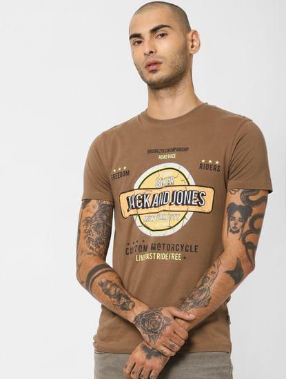 Brown Logo Print Crew Neck T-shirt