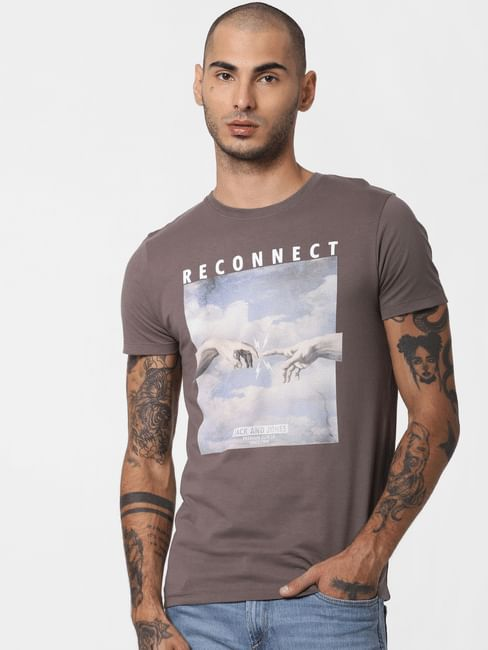 Brown Reconnect Print Crew Neck T-shirt