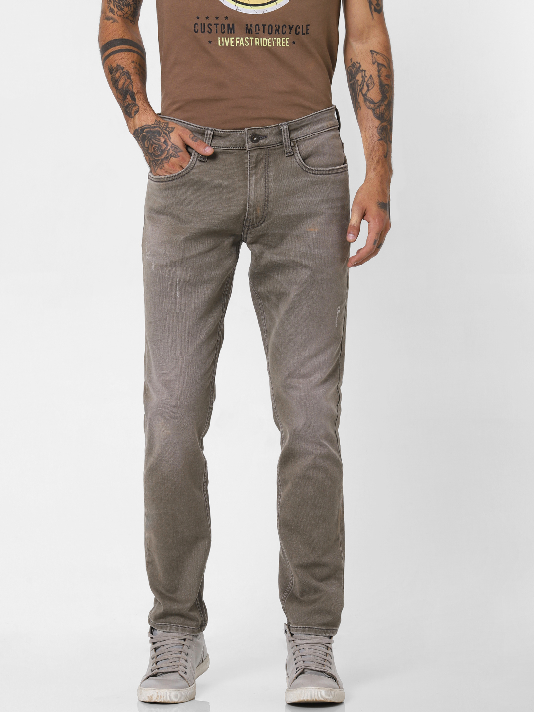 Taupe Low Rise Heavily Washed Slim Fit Jeans