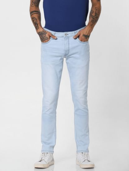 Light Blue Low Rise Washed Skinny Fit Jeans