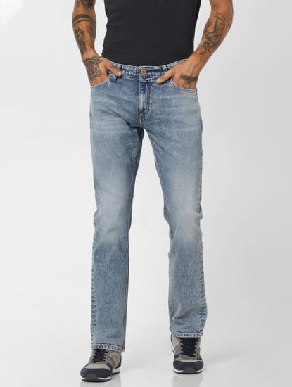 Light Blue Low Rise Washed Regular Fit Jeans