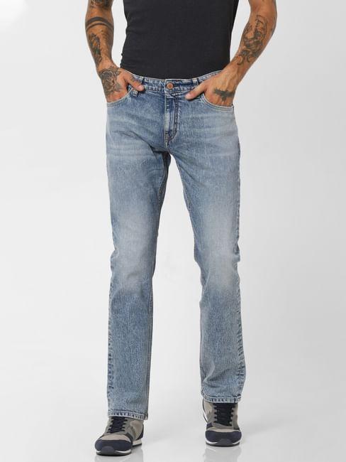 Light Blue Low Rise Washed Regular Fit Jeans