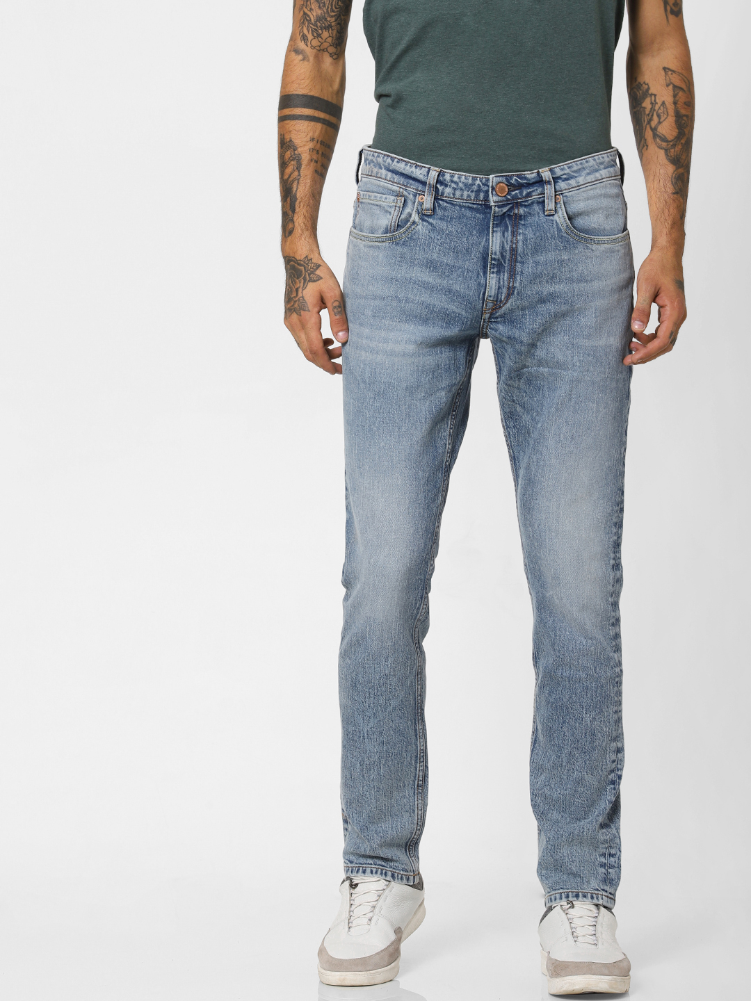 Light Blue Low Rise Heavily Washed Slim Fit Jeans