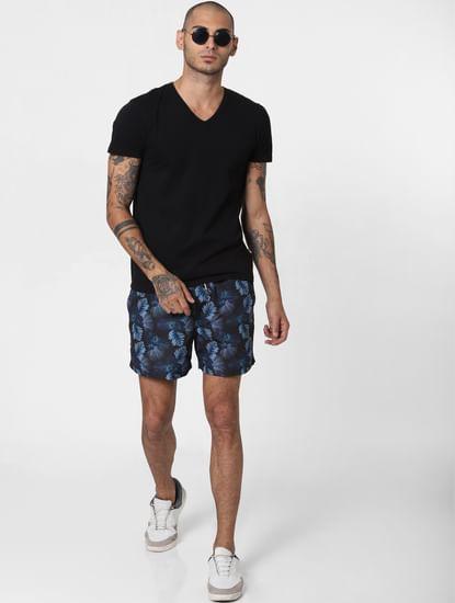 Black Floral Print Swimshorts