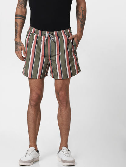 Green Striped Print Swimshorts