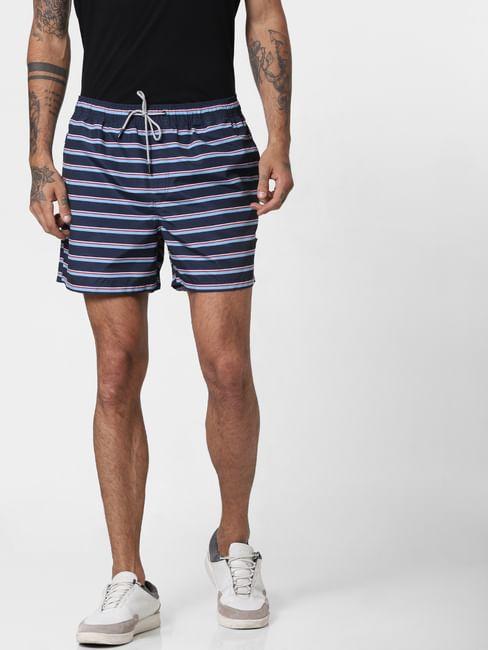 Blue Striped Print Swimshorts