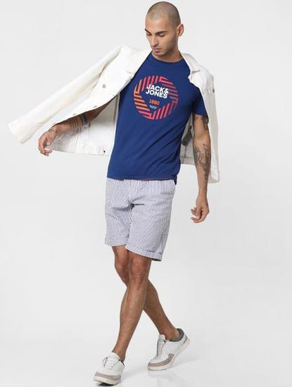 White Striped Chino Shorts