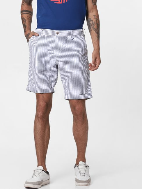 White Striped Chino Shorts