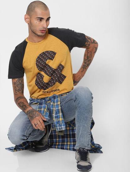 Mustard Colourblocked Crew Neck T-shirt