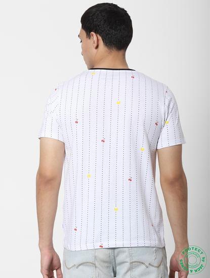 X PAC-MAN White Logo Print Crew Neck T-shirt