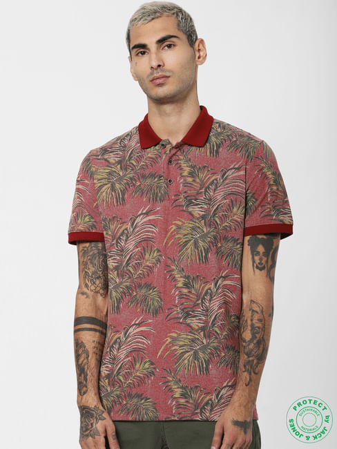 Red Tropical Print Polo T-shirt