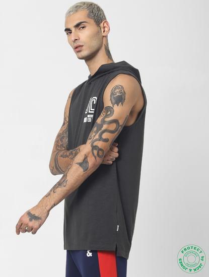 Black Hooded V Neck T-shirt