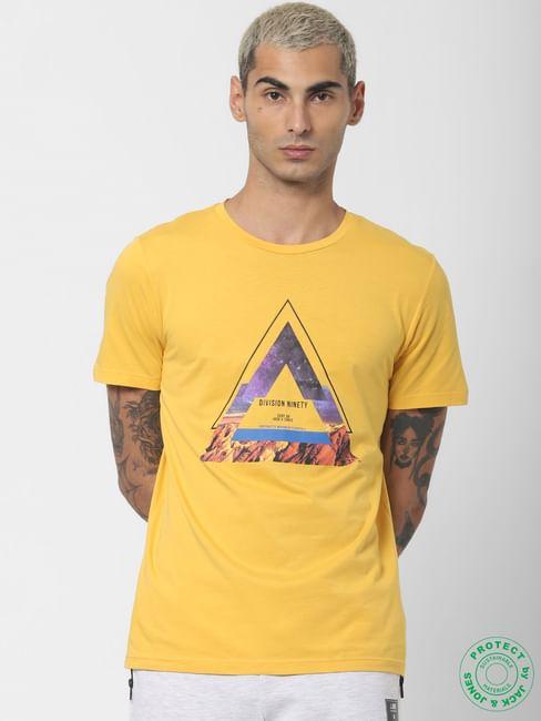 Yellow Graphic Print Crew Neck T-shirt