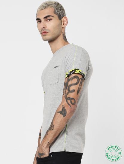 Grey Patch Pocket Crew Neck T-shirt