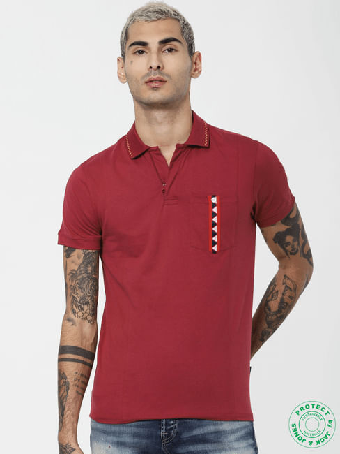 Red Tape Patch Polo Neck T-shirt