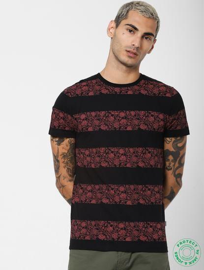Black Printed Crew Neck T-shirt