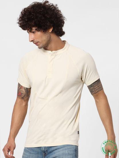 White Short Sleeves Henley Neck T-shirt