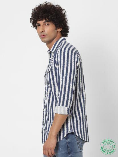 Blue Striped Full Sleeves Shirt