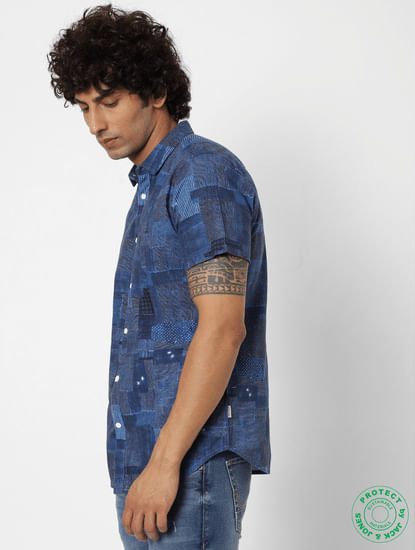 Blue All Over Patchwork Print Short Sleeves Shirt