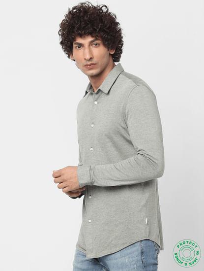 Olive Full Sleeves Slim Fit Knit Shirt