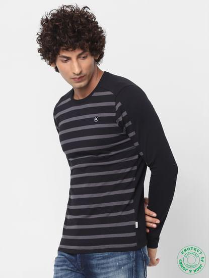 Black Crew Neck Full Sleeves Striped T-shirt
