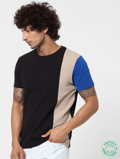Black Crew Neck Colourblocked T-shirt