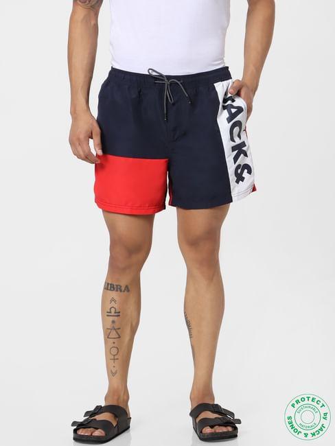 Blue Mid Rise Colourblocked Logo Print Swimshorts