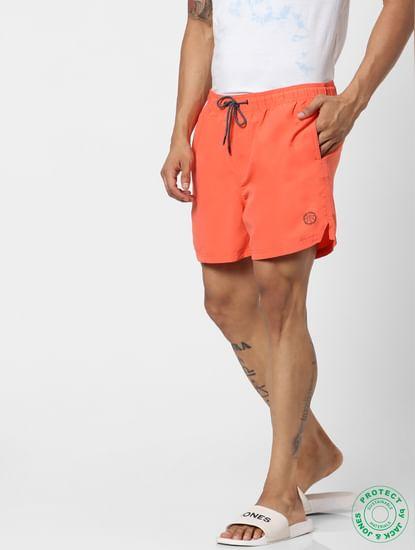 Orange Mid Rise Drawstring Swimshorts