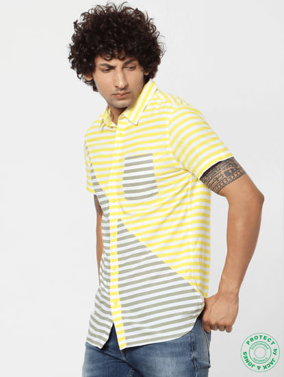 Yellow & Grey Striped Short Sleeves Shirt