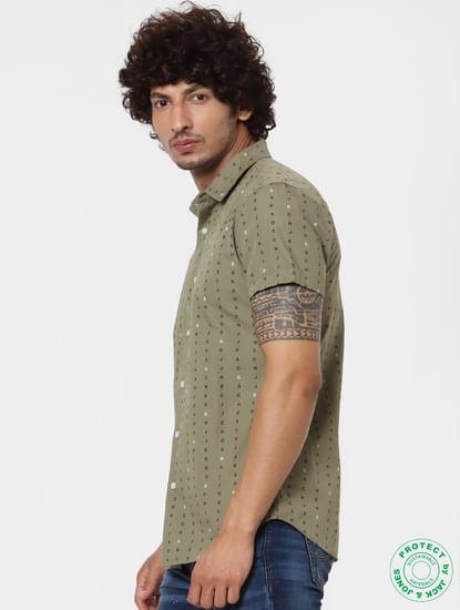 Green Short Sleeves All Over Print Shirt