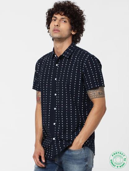 Navy Blue All Over Logo Print Short Sleeves Shirt