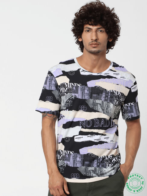 Multi-coloured Abstract Print Crew Neck T-shirt