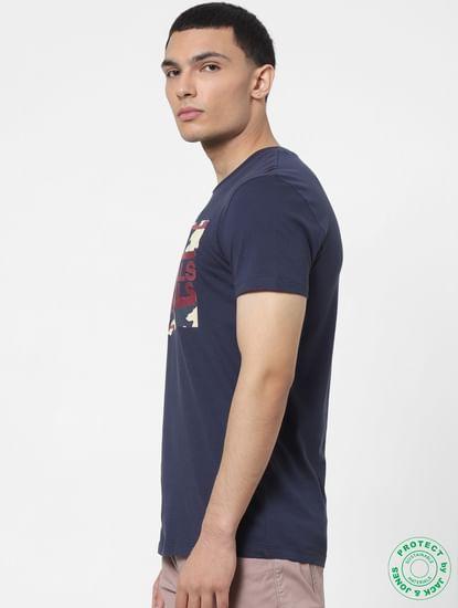 Blue Logo Print Embroidered Crew Neck T-shirt