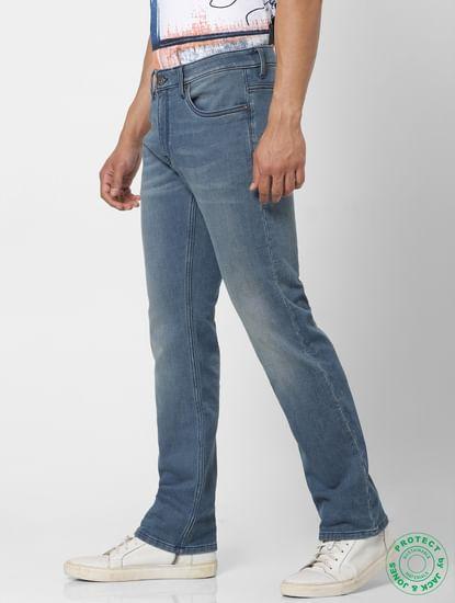 Protect Light Blue Mid Rise Clark Regular Fit Jeans