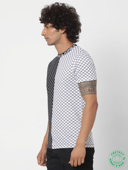 White Geometric Print Crew Neck T-shirt