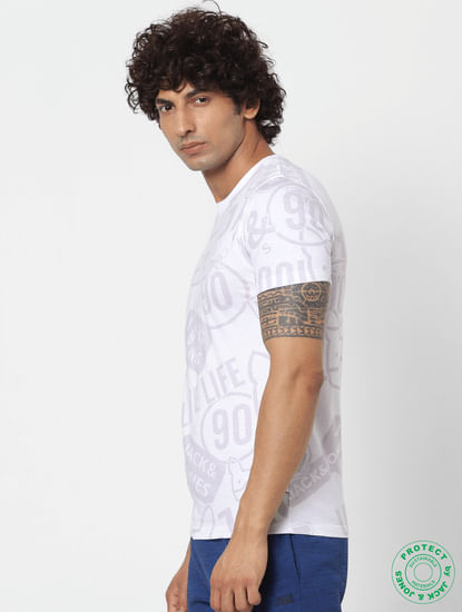 White All Over Graphic Print Crew Neck T-shirt