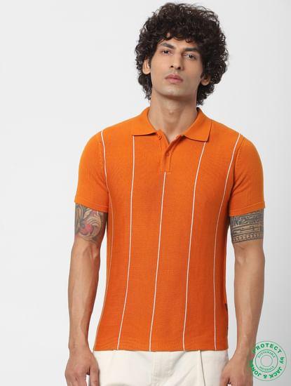 Orange Striped Polo Neck T-shirt