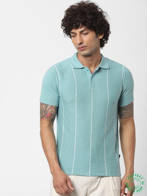 Light Blue Striped Polo Neck T-shirt