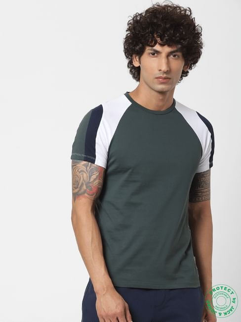 Dark Green Colourblocked Crew Neck T-shirt