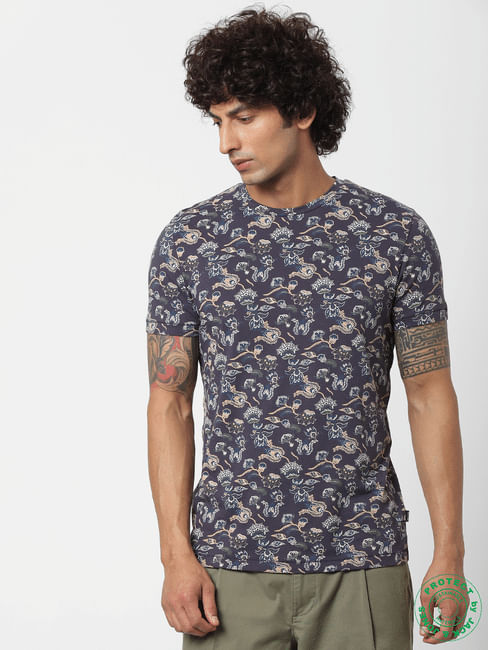 Blue All Over Floral Print Crew Neck T-shirt
