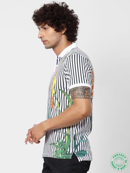 Black & White Striped Polo Neck T-shirt