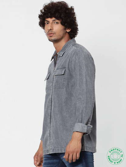 Grey Full Sleeves Zip Up Shirt