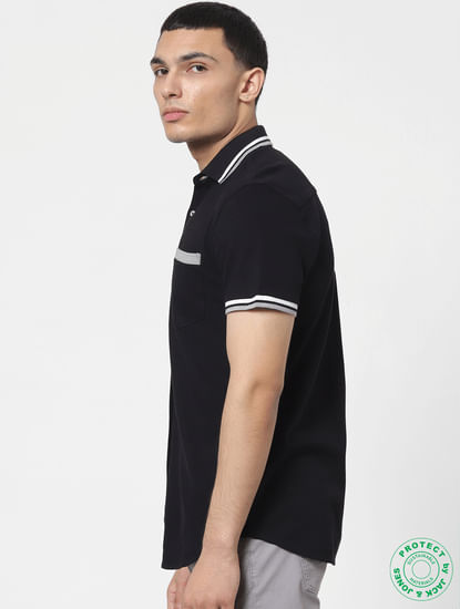 Black Contrast Tipping Polo Neck Short Sleeves Shirt