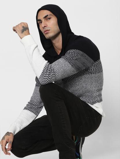 Black & White Hooded Pullover