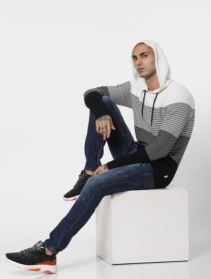 Black & White Striped Hooded Pullover