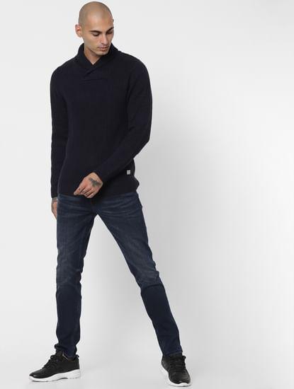Blue Shawl Neck Pullover