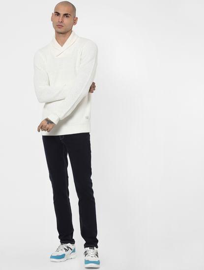 White Shawl Neck Pullover