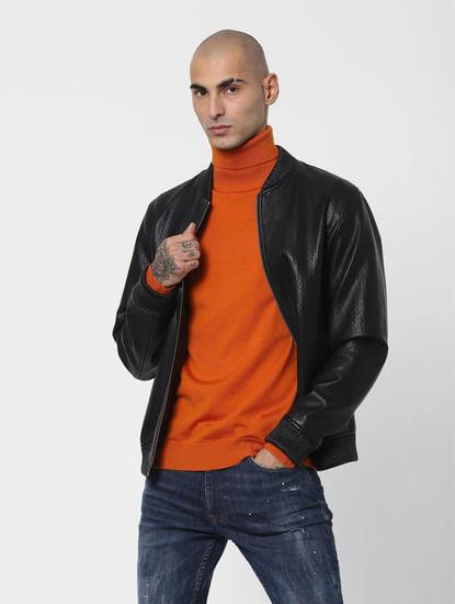Orange Turtleneck Pullover