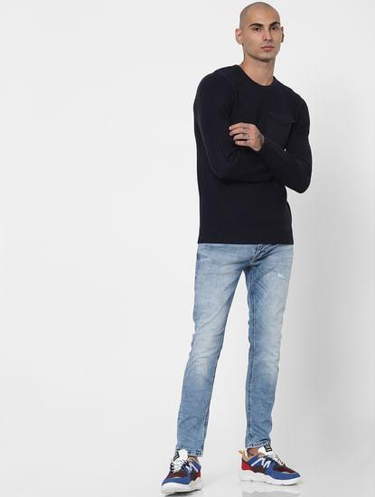 Dark Blue Patch Pocket Pullover