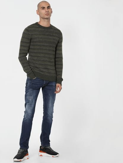 Green Textured Striped Pullover